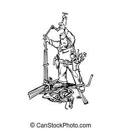 vízvezeték szerelő, vektor, karikatúra, ábra