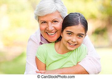 vó, abraçando, dela, neta