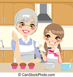 vó, ensinando, neta, cozinha