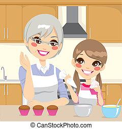 vó, ensinando, neta, em, cozinha