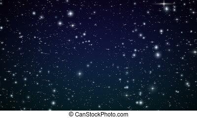 vôo, através, a, stars., looped%u044e
