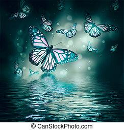 vôo, de, borboletas, é, em, a, raios luz
