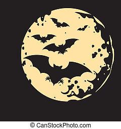 vôo, de, um, morcego, e, lua