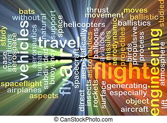 vôo, fundo, conceito, glowing