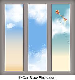 vôo kite, céu, nuvens, vetorial, bandeiras, branca