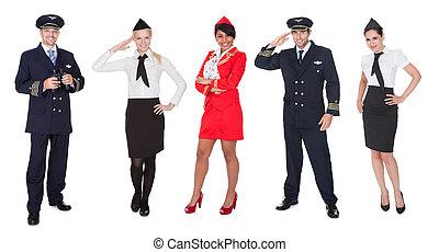 vôo, membros, pilotos, tripulação, stewardesses