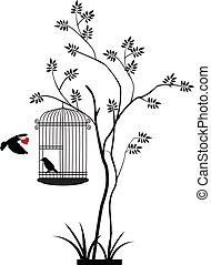 vôo pássaro, silueta, árvore