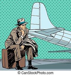 vôo passageiro, esperando, viagem, s, aeroporto, macho, viagem