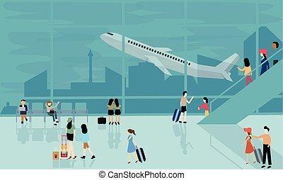 vôo, pessoas, vetorial, viagem, aeroporto, atividades, chegada, ocupado, partida, ilustração, avião