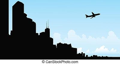 vôo, silueta, chicago