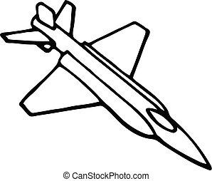vôo, sky., aeronave, icons., vôo, silhuetas, vetorial, pretas, ilustração, aviação, avião