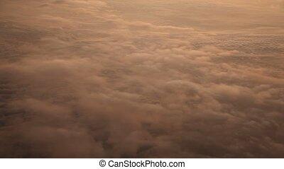vôo, sobre, nuvens