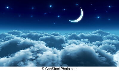 vôo, sobre, nuvens, noturna