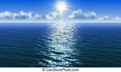 vôo, sobre, um, mar, superfície