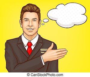vôo, vetorial, linha aérea, retrato, assistente, mordomo