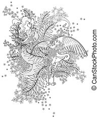 vögel, erwachsener, färbung, seite