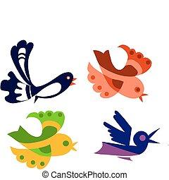 vögel, satz, bunte, abbildung, gegenstand, freigestellt, vektor