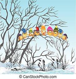 vögel, winter