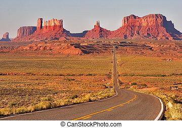 völgy, jól ismert, monuments.