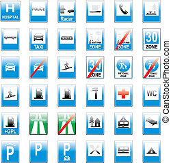 völlig, editable, vektor, europäische , verkehrschilder