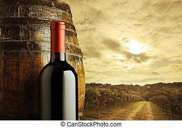 vörös bor, palack