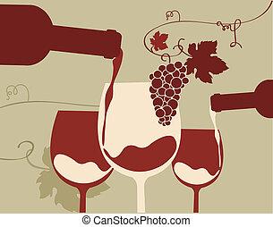 vörös bor, pohár, szőlő