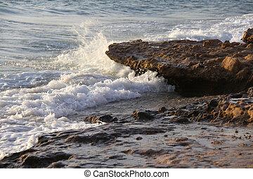 vörös- tenger, -ban, napnyugta, lenget