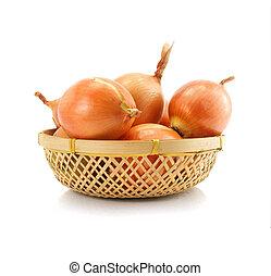 vöröshagyma, növényi, gyümölcs, alatt, vaze, elszigetelt