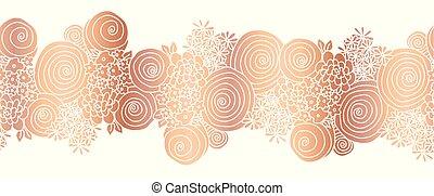 vörösréz, virág, arany, border., csokor, rózsa, seamless, ellentét, vektor, virágos