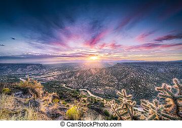 východ slunce, čerstvý, řeka, nad, mexiko, grande, rio