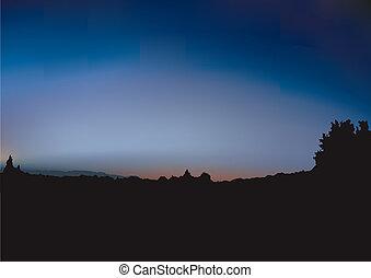 východ slunce, a, křoví, silueta
