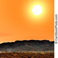 východ slunce, arizona, město