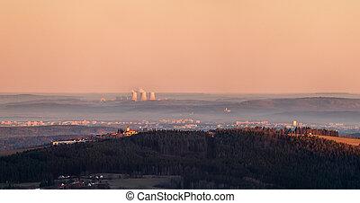 východ slunce, církev, čech, krajina, jaderný, nad, temelin...