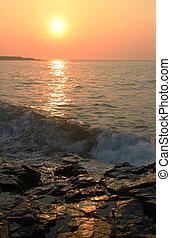 východ slunce, dále, gerrish, ostrov