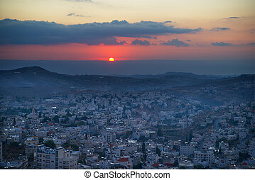východ slunce, do, betlém, palestina, izrael
