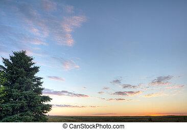 východ slunce, do, jezero, okoboji