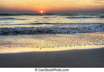 východ slunce, do, melbourne, pláž, florida