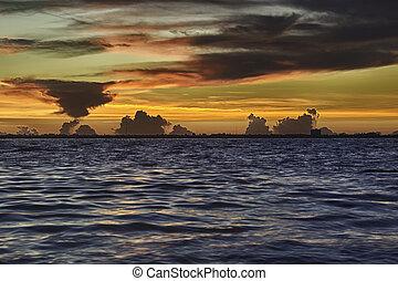 východ slunce, do, sanibel ostrov