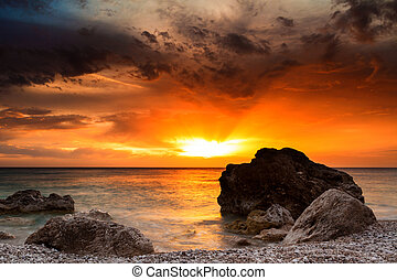 východ slunce, do, ta, moře
