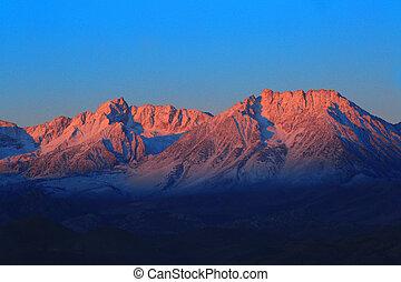 východ slunce, do, ta, sierra, hory, californa