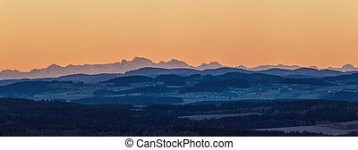 východ slunce, krajina, obzor, -, hory