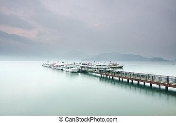 východ slunce, měsíc, jezero, slunit se, taiwan, překrásný