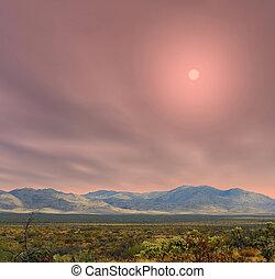 východ slunce, sonora pustý, arizona