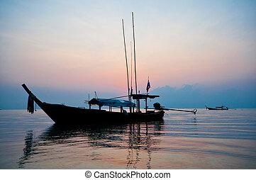 východ slunce, v, surin, ostrov, o, thajsko