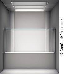 výklenek, exponát, vitrina, chodba, 3, barometr