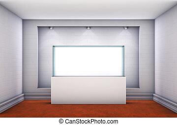 výklenek, exponát, vitrina, hledáčky, chodba, 3, barometr