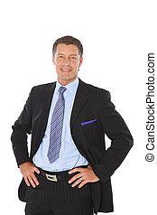 výkonný, osamocený, srdečný, businessman., kostým, portrét, starší