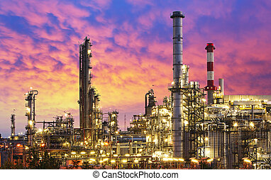 výkonný průmyslové odvětví, -, rafinerie, továrna