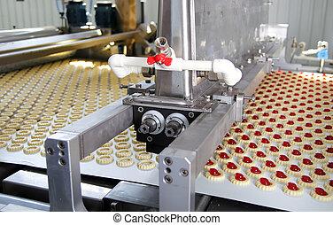 výroba, koláček, do, továrna