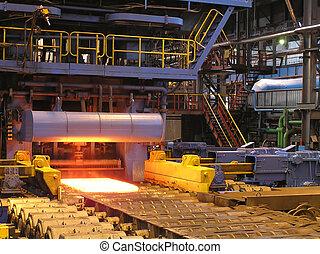 výroba, o, ta, ocel, sheet.